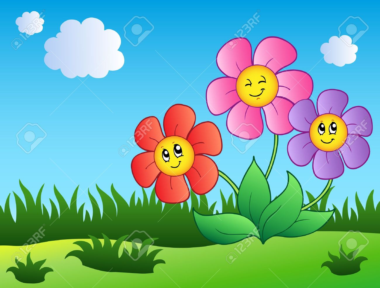 Flower garden cartoon - Flower Garden Three Cartoon Flowers On Meadow