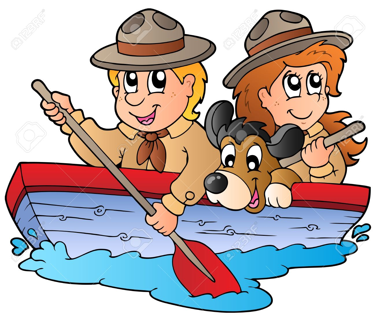 Wooden Boat With Scout Boy And Girl Royalty Free Cliparts Vectors