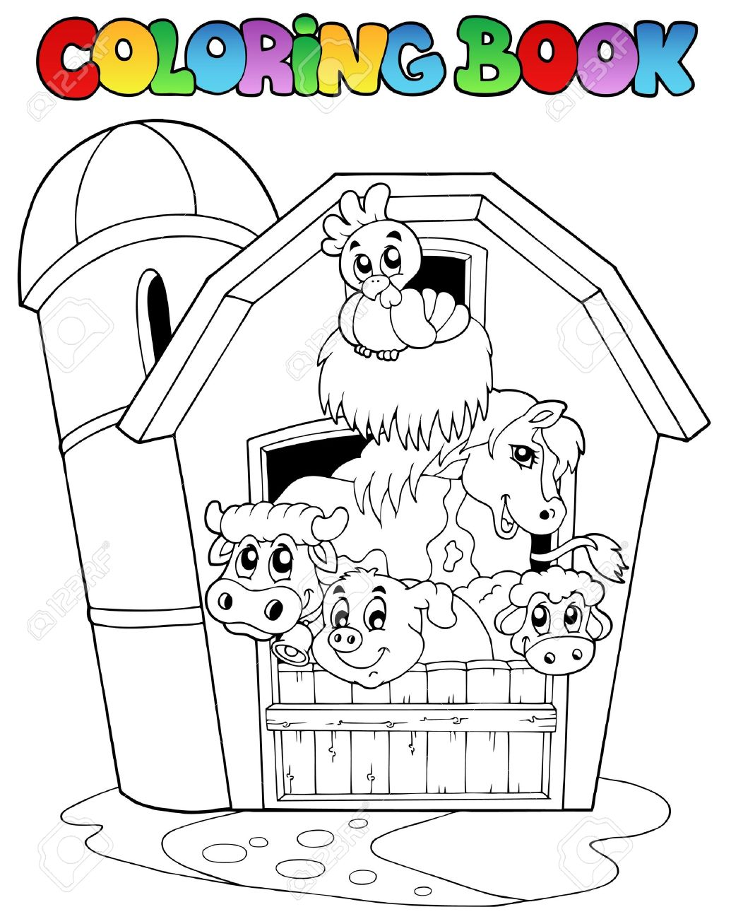 Coloring book with barn and animals - vector illustration. Stock Vector - 9674306