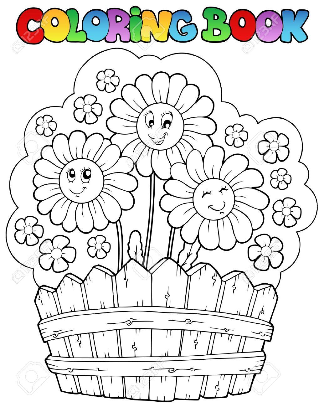 Libro Para Colorear Con Margaritas Ilustración Vectorial