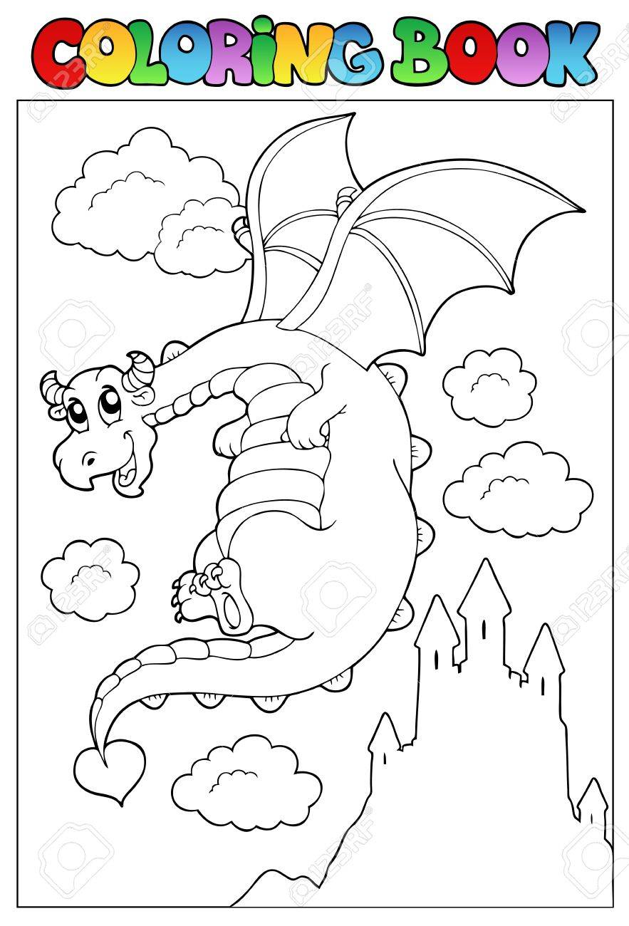 Coloring book with dragon 2 - vector illustration. Stock Vector - 9674314