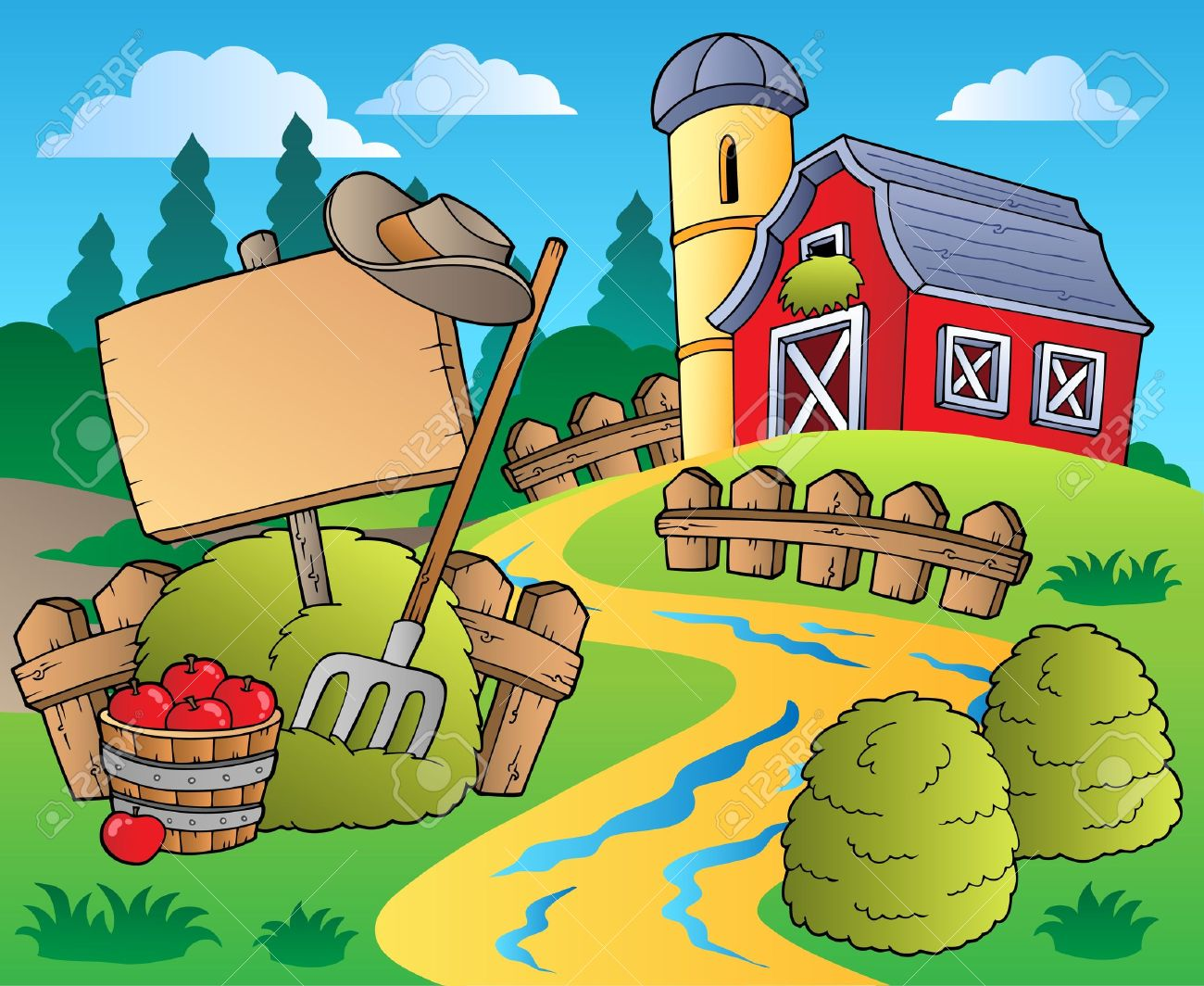 Country scene with red barn 5 - vector illustration. Stock Vector - 9674340