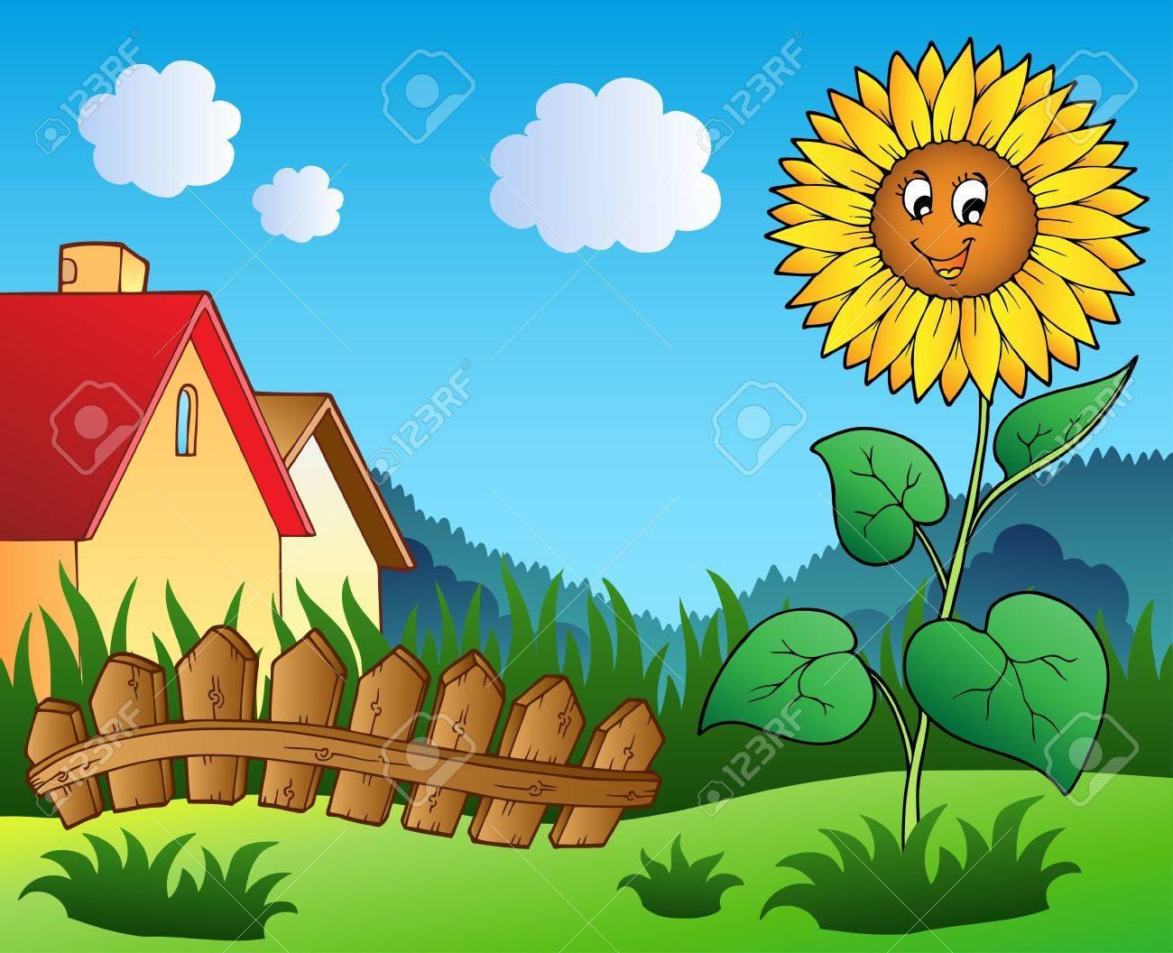Meadow with cartoon sunflower - vector illustration. Stock Vector - 9674308