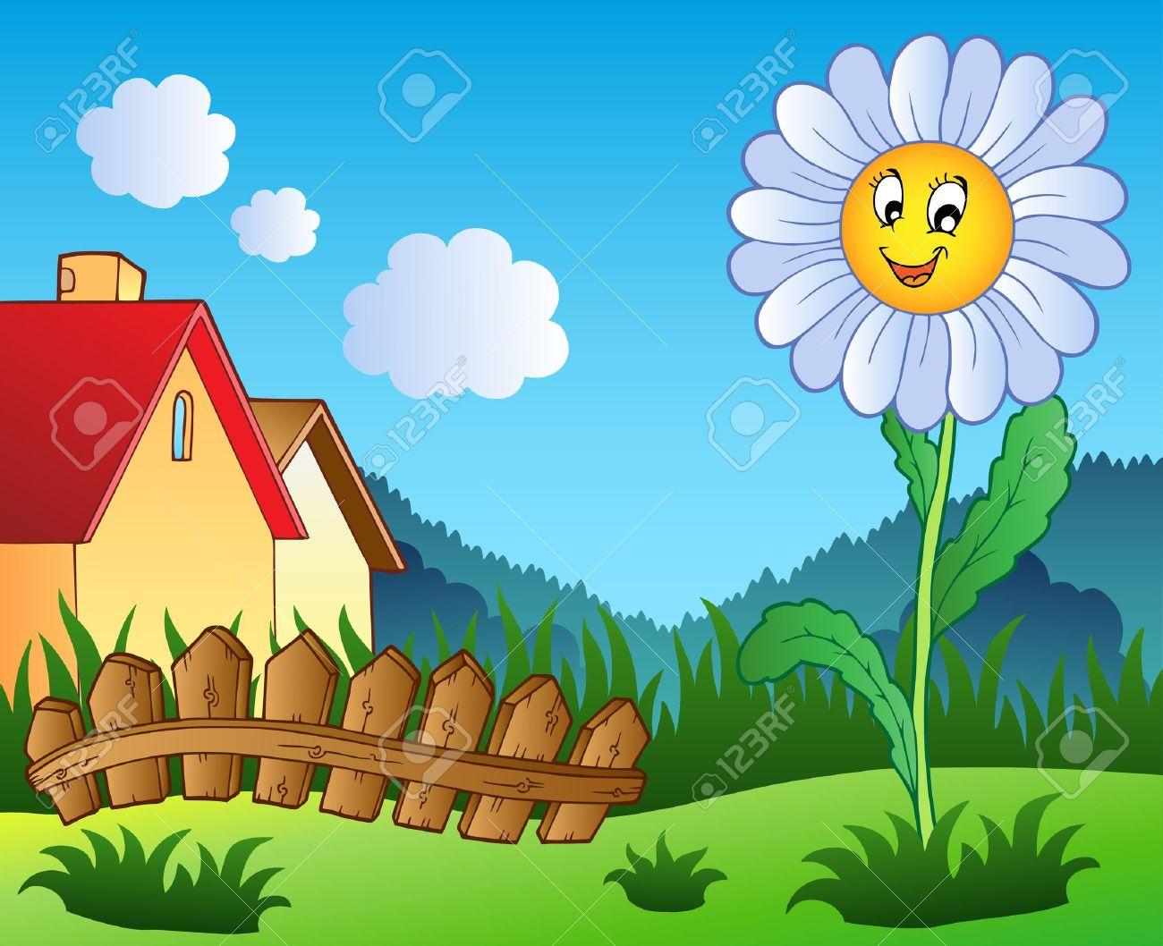 Meadow with daisy - vector illustration. Stock Vector - 9674307