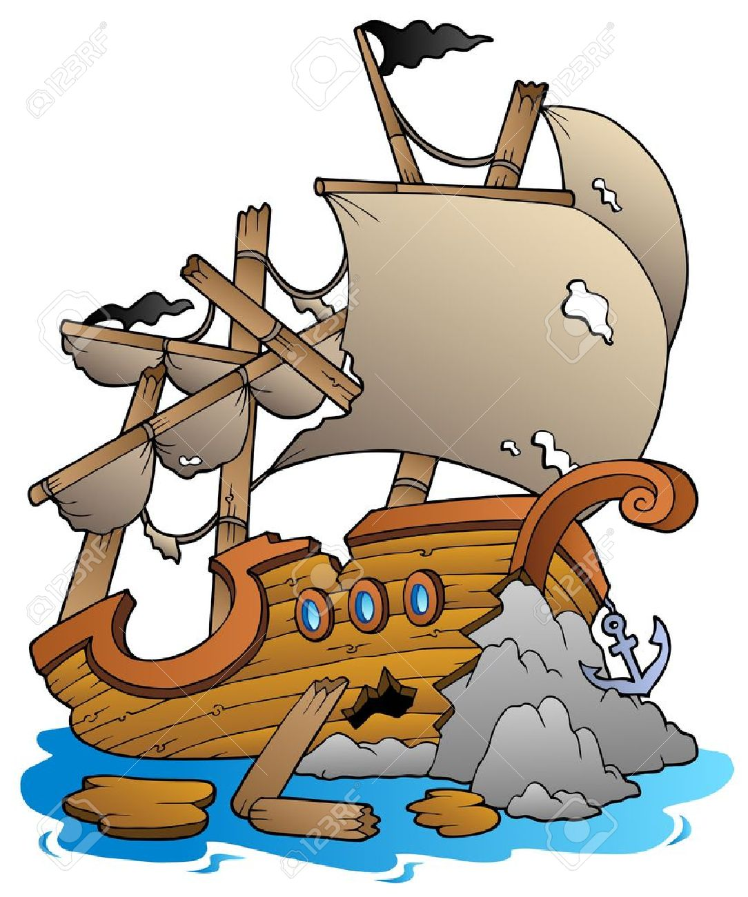shipwreck with rocks vector illustration royalty free cliparts rh 123rf com shipwreck clip art free shipwreck clipart free