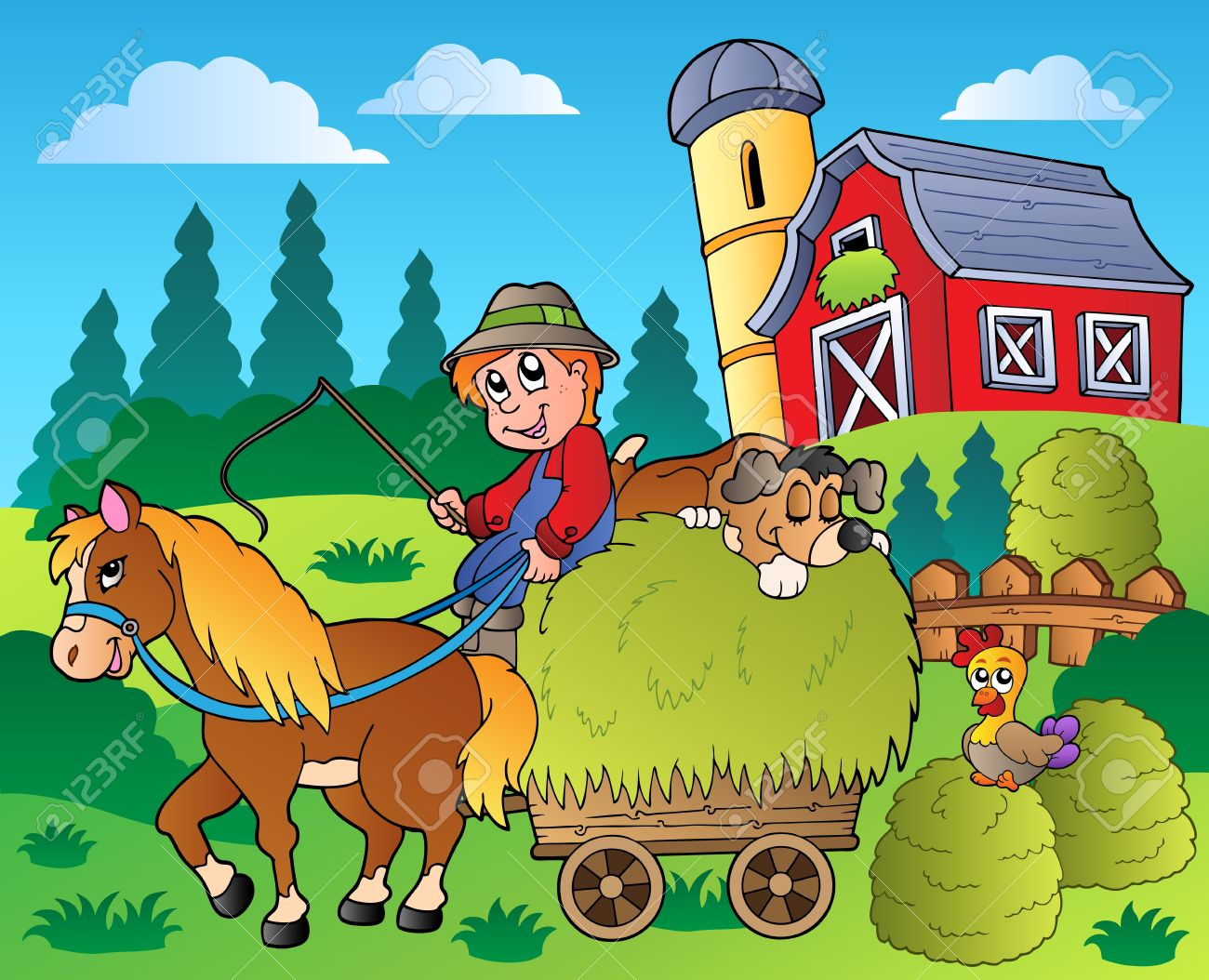 Country scene with red barn Stock Vector - 9864354