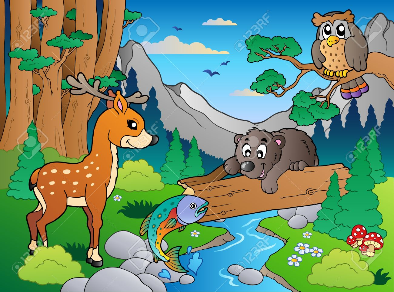 Forest scene with various animals Stock Vector - 9864343