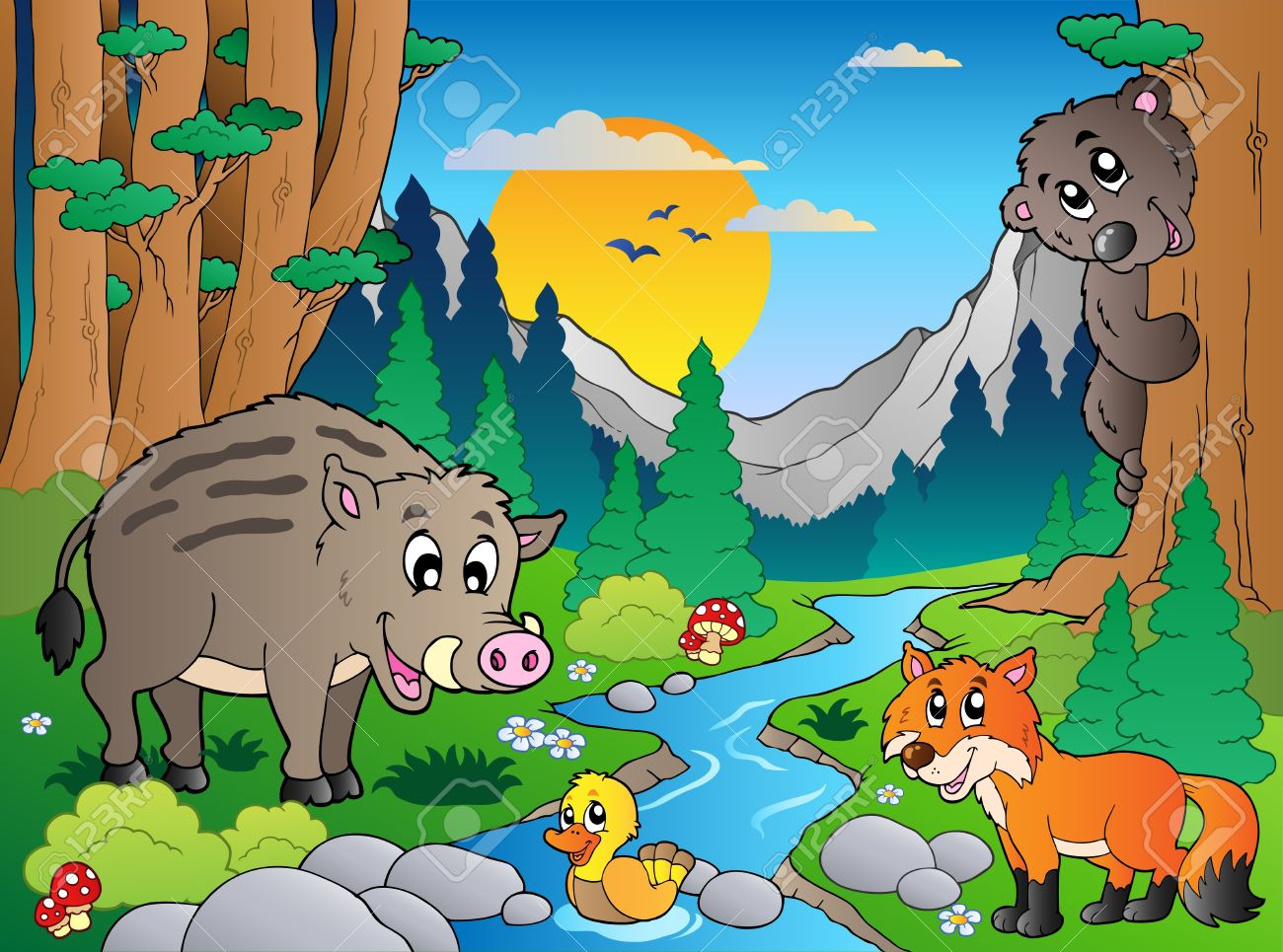 Forest scene with various animals Stock Vector - 9864339
