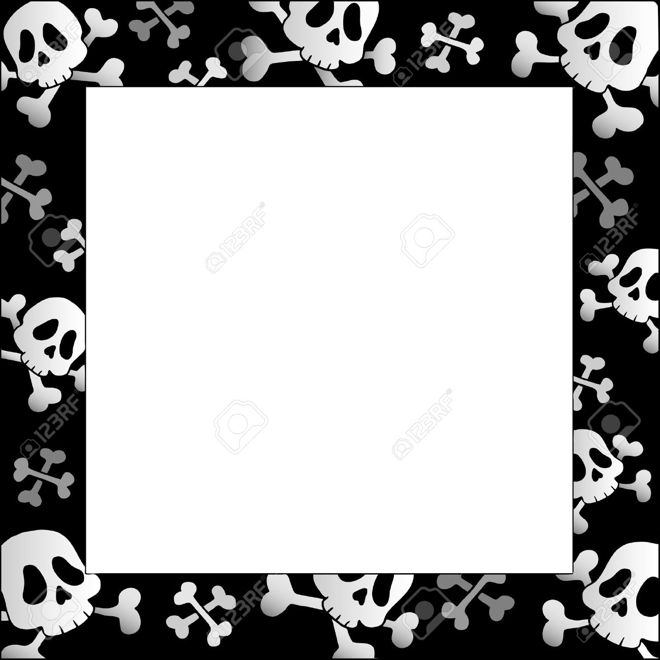 Great Frame With Pirate Skulls And Bones Stock Vector   9864306