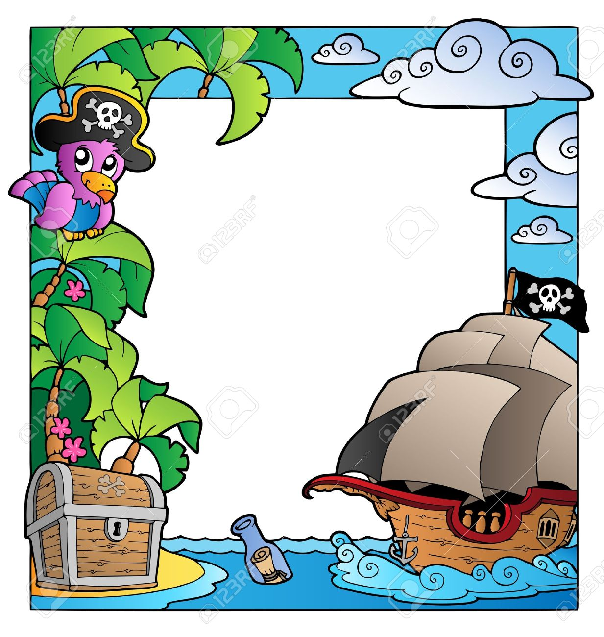 Frame with sea and pirate theme Stock Vector - 9862770