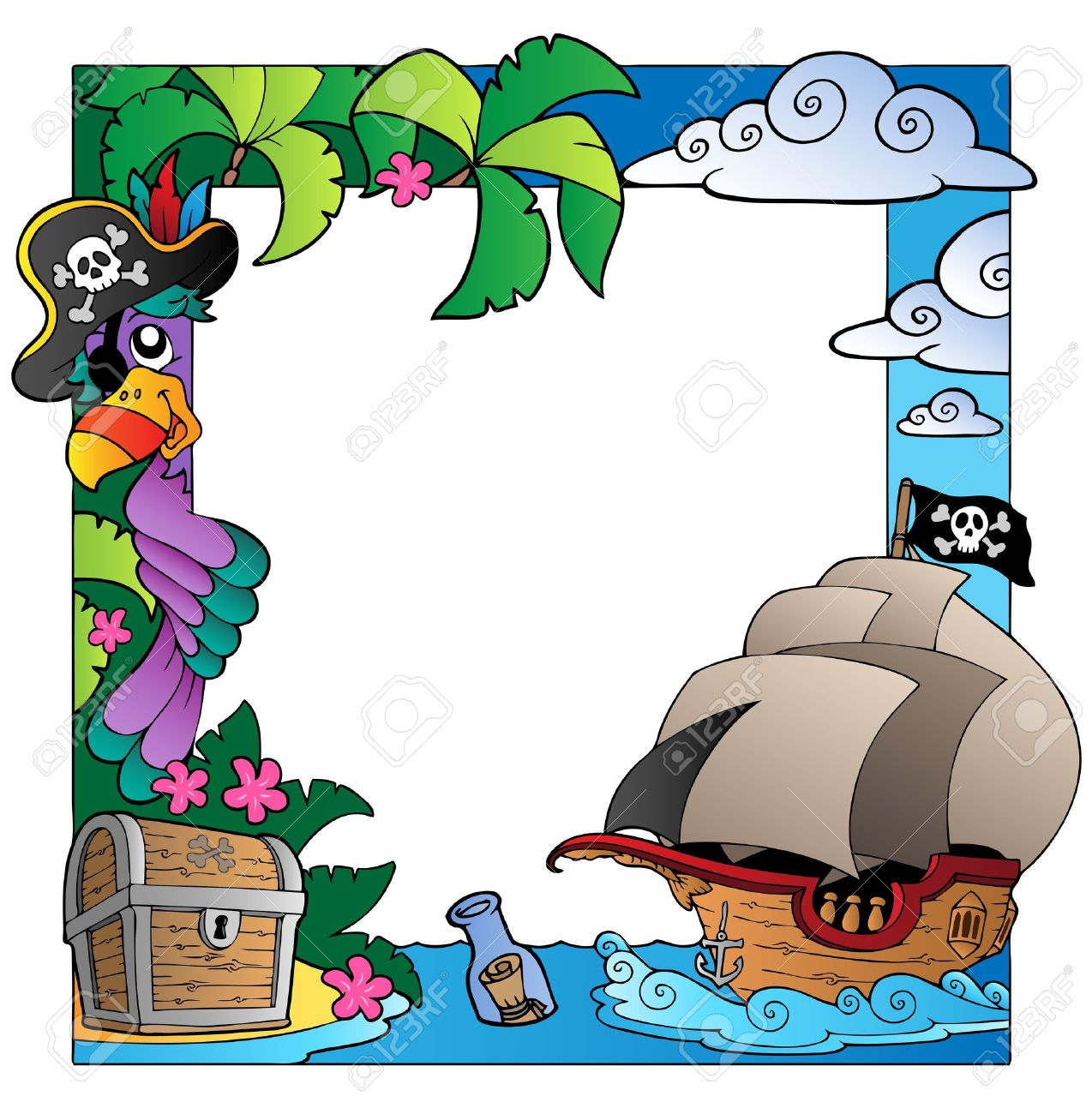 Frame with sea and pirate theme Stock Vector - 9862661