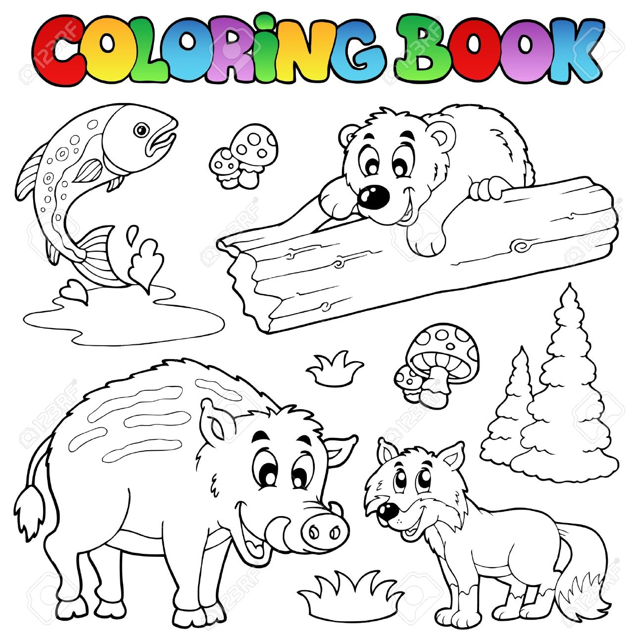 Coloring Book With Woodland Animals Stock Vector