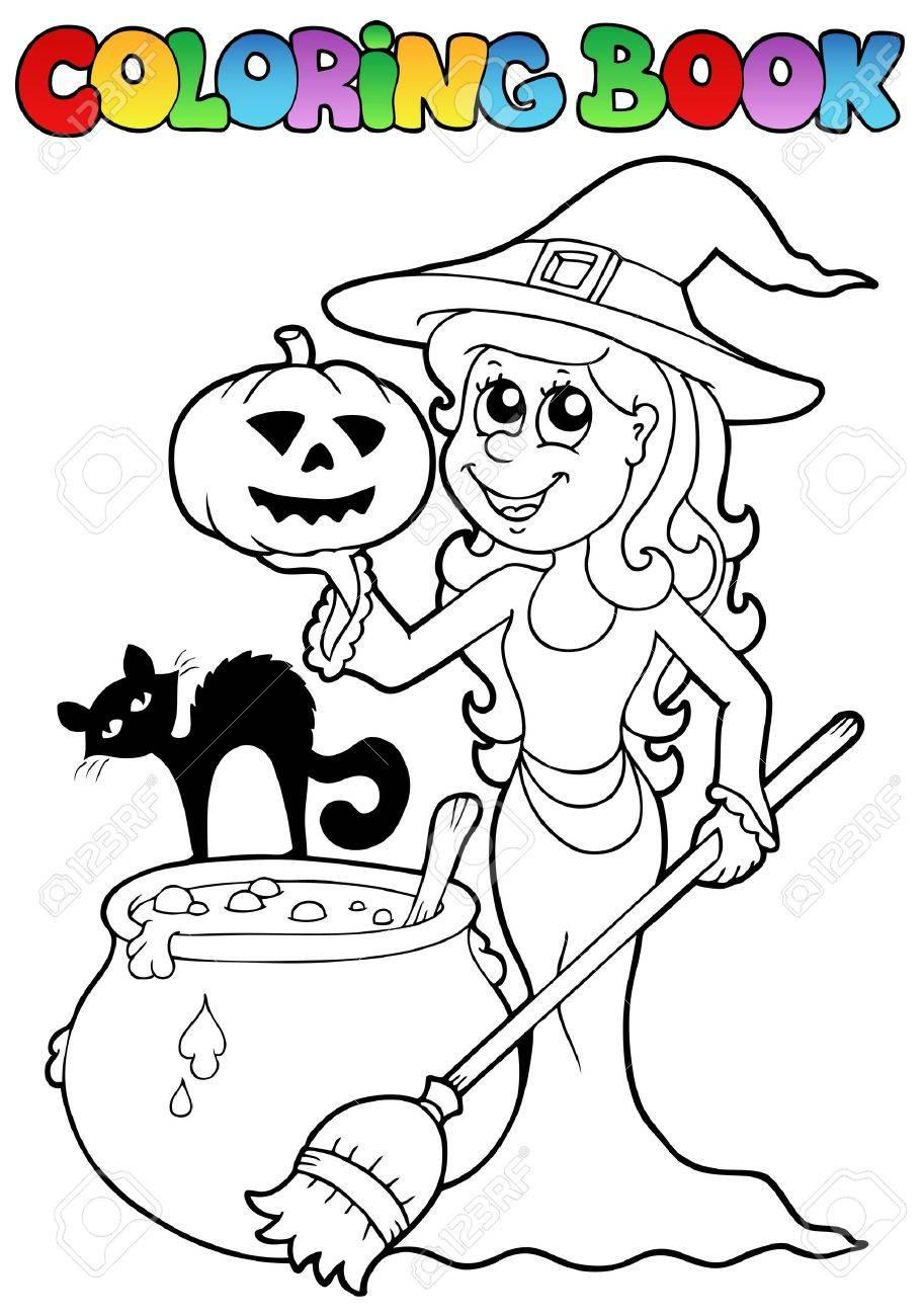 Libro Da Colorare Illustrazione Argomento Di Halloween Archivio Fotografico