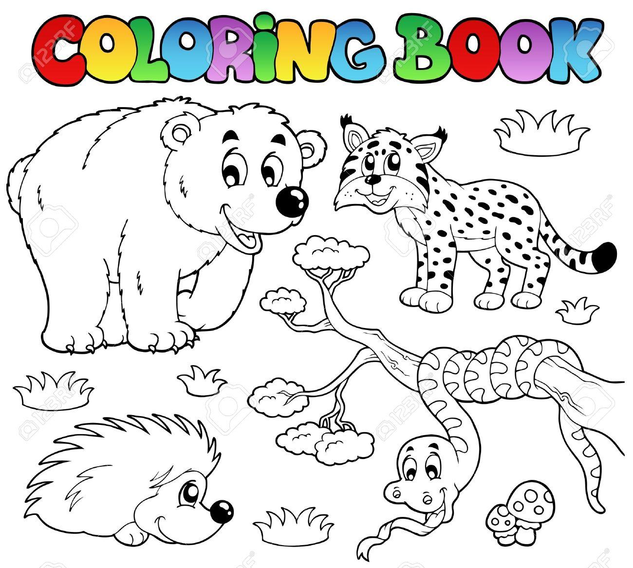 森林動物イラスト塗り絵。 ロイヤリティフリークリップアート、ベクター