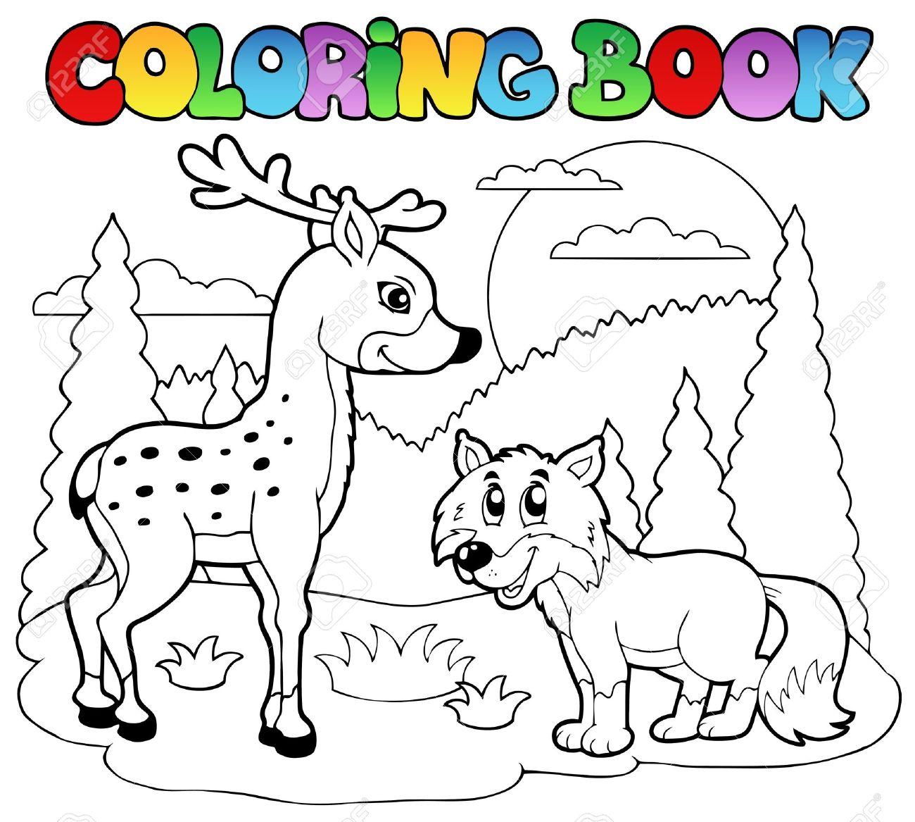 幸せな動物イラスト塗り絵。 ロイヤリティフリークリップアート