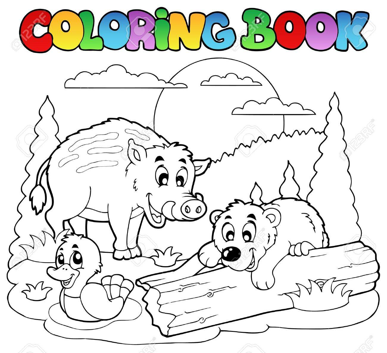 Coloring Book With Happy Animals Illustration Stock Vector