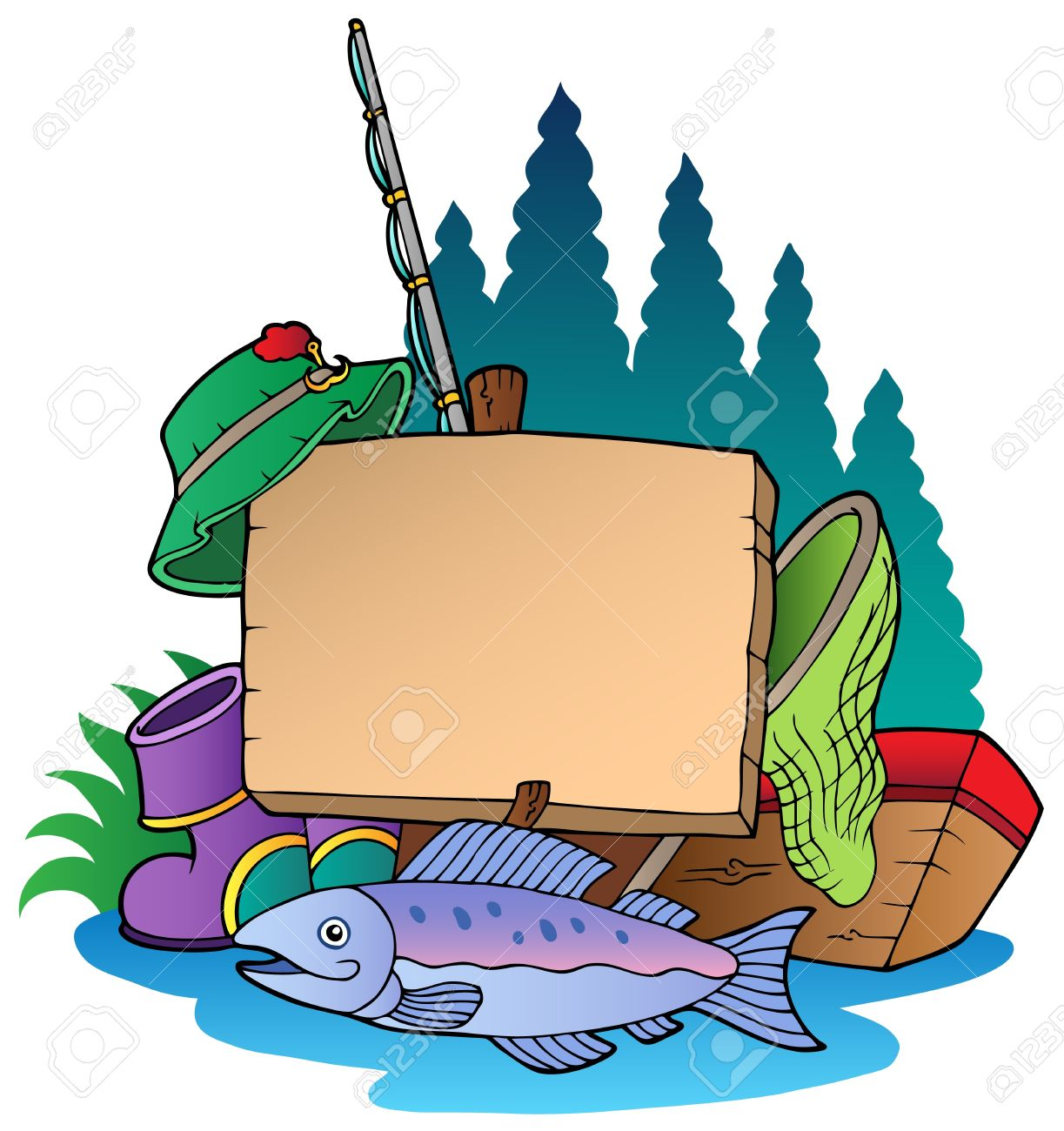 wooden board with fishing equipment illustration. royalty free, Hard Baits