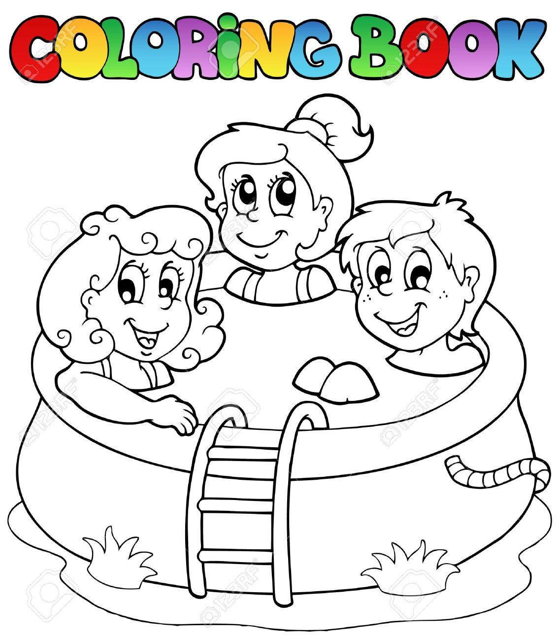 Libro Para Colorear Con Los Niños En La Piscina Ilustración Vectorial