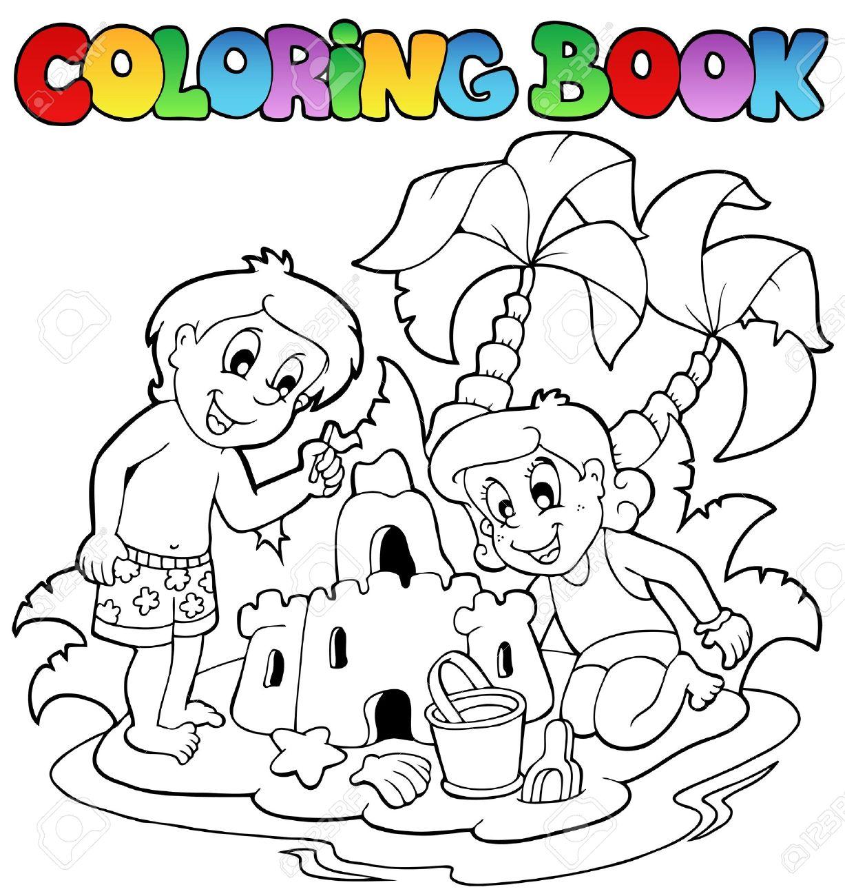 Libro Para Colorear Con El Tema Del Verano 1 - Ilustración Vectorial ...