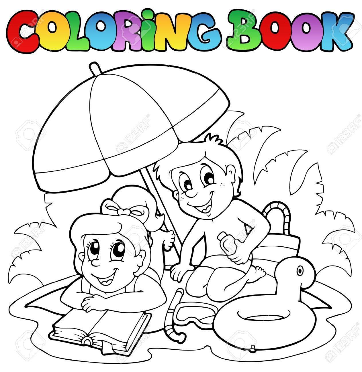 Libro Para Colorear Con Tema Del Verano 2 - Ilustración Vectorial ...