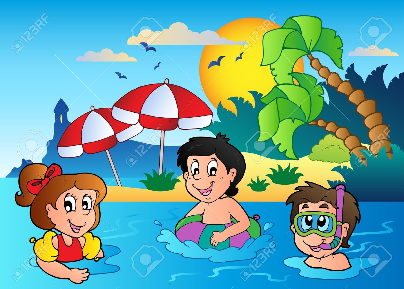 Kids Beach Clipart Summer Theme Image 2 Vector Illustration Stock 10107500