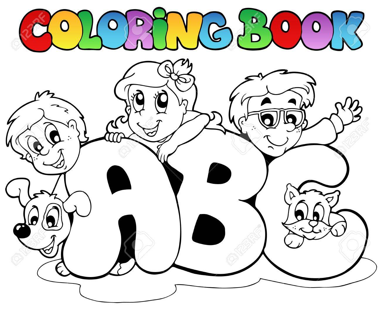 Coloring Book School ABC Letters Royalty Free Cliparts, Vectors ...