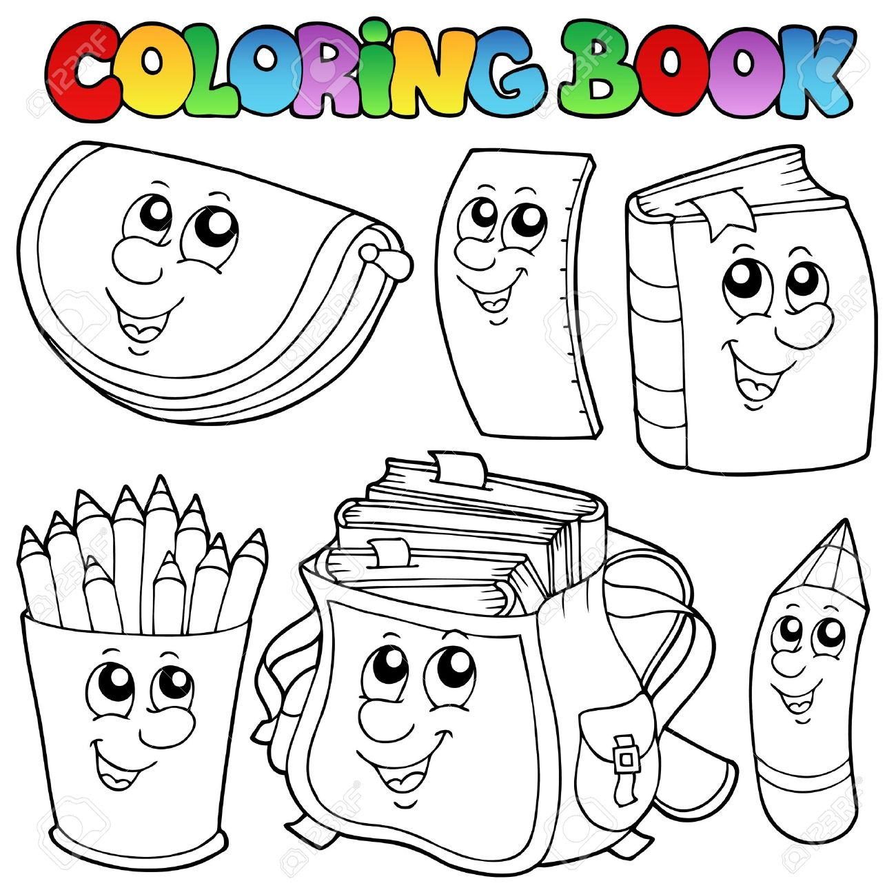 Coloring book school - Coloring Book School Cartoons Stock Vector 10354155