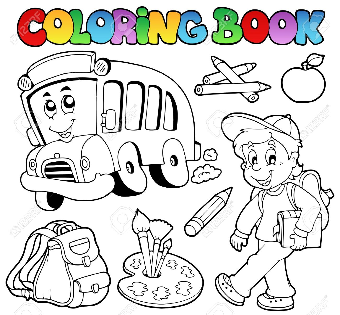 Coloring book school - Coloring Book School Cartoons Stock Vector 10354156
