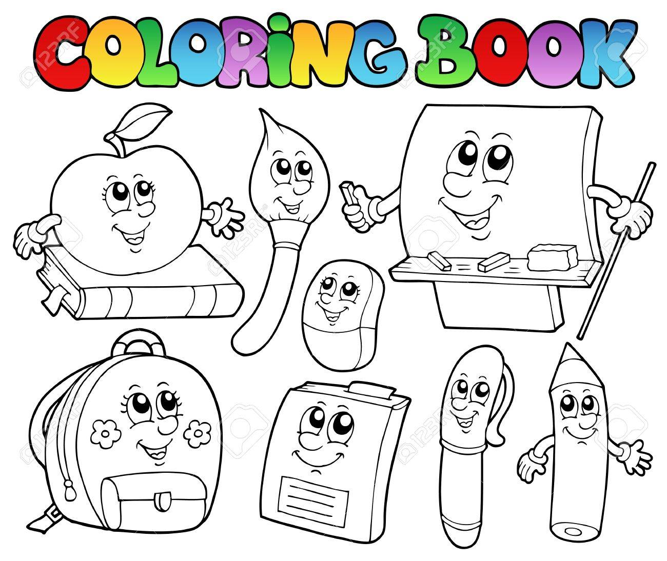 Coloring book school - Coloring Book School Cartoons 5 Stock Vector 10354151