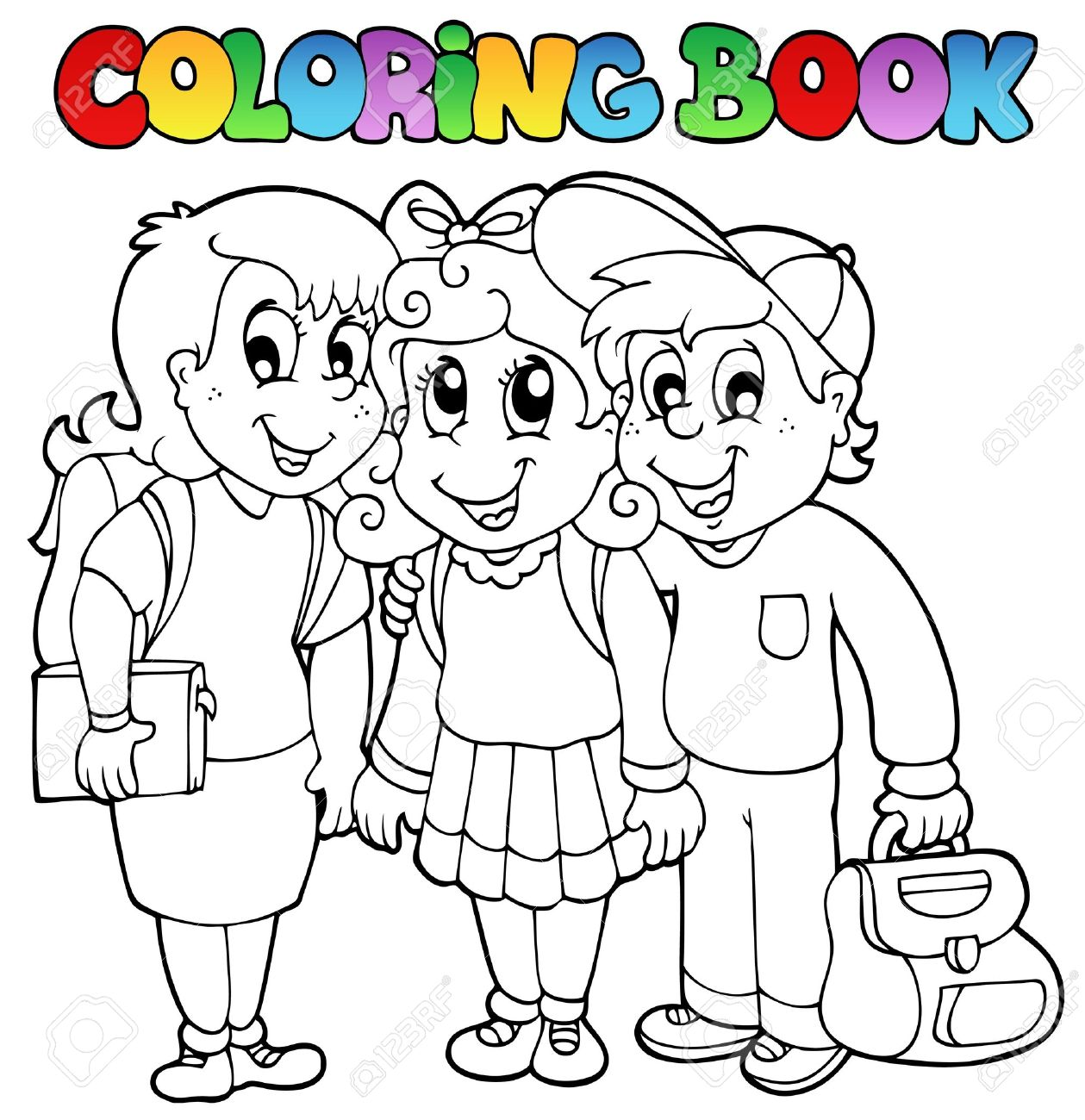 Coloring book school - Coloring Book School Cartoons Stock Vector 10354160