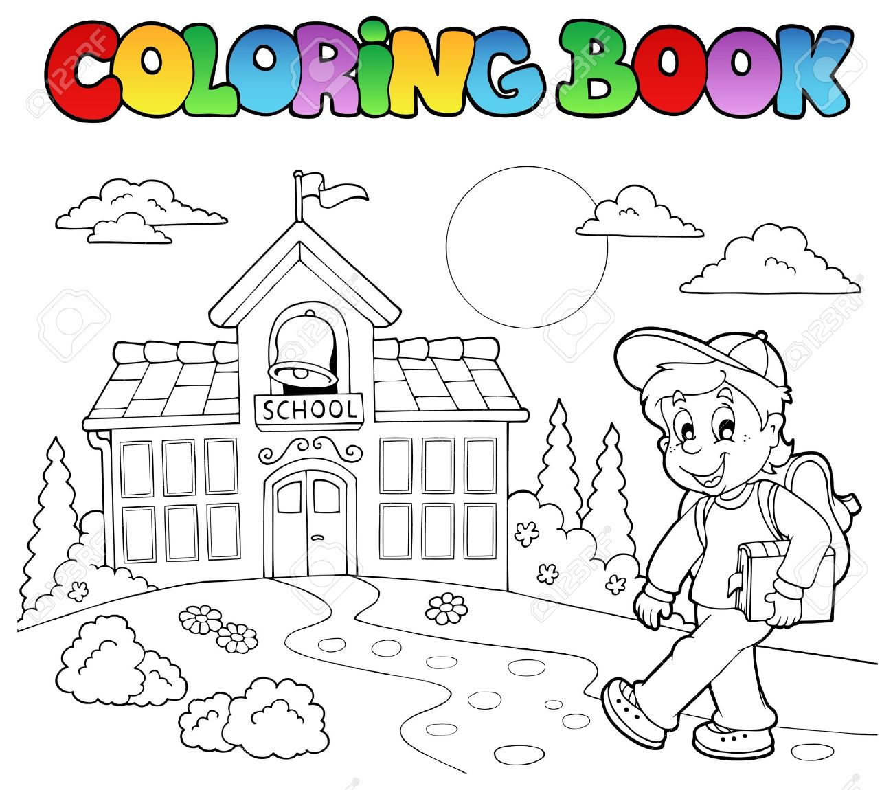 Coloring book school - Coloring Book School Cartoons Stock Vector 10354153