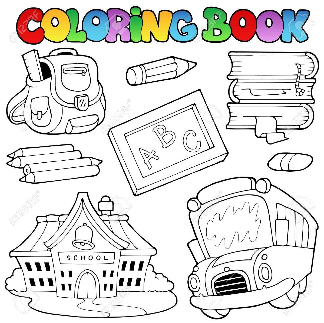 Colección De Escuela De Libros Para Colorear Ilustraciones ...