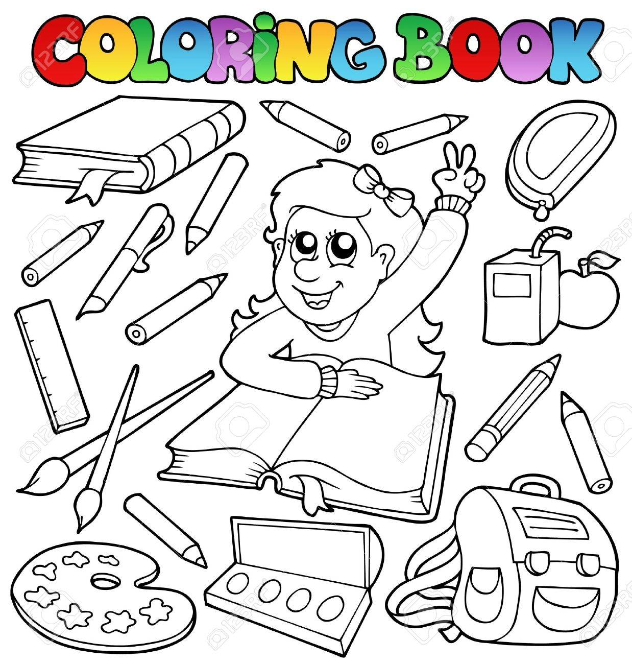 Coloring book school - Coloring Book School Topic Stock Vector 10354159
