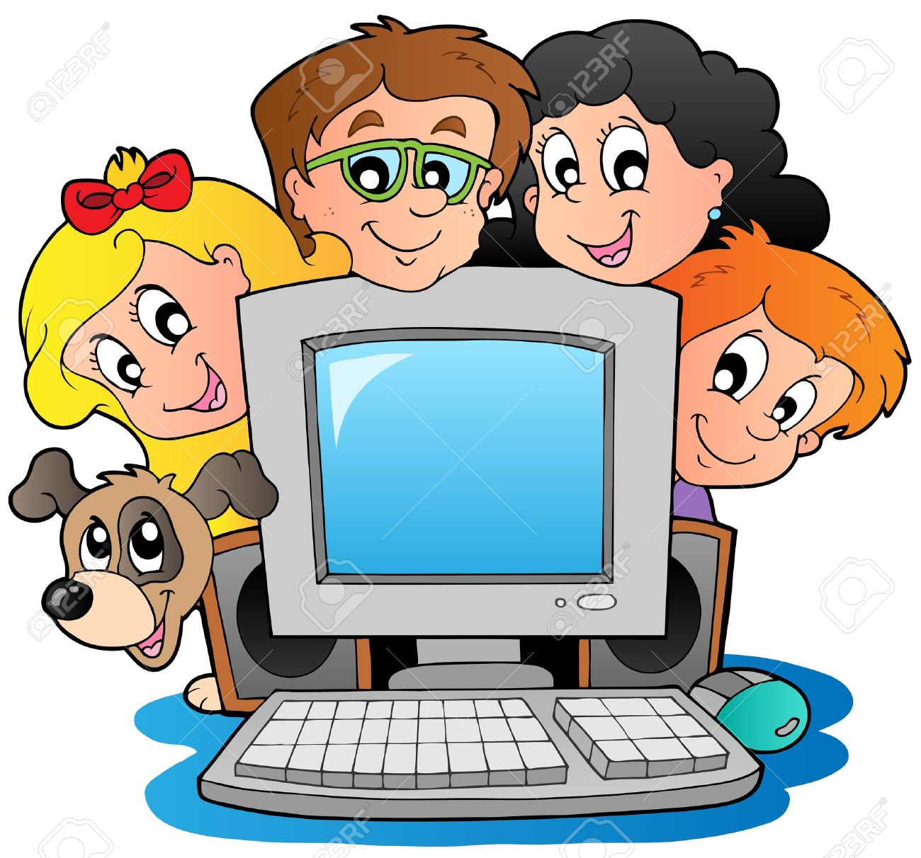 Computer with cartoon kids and dog Stock Vector - 10354188