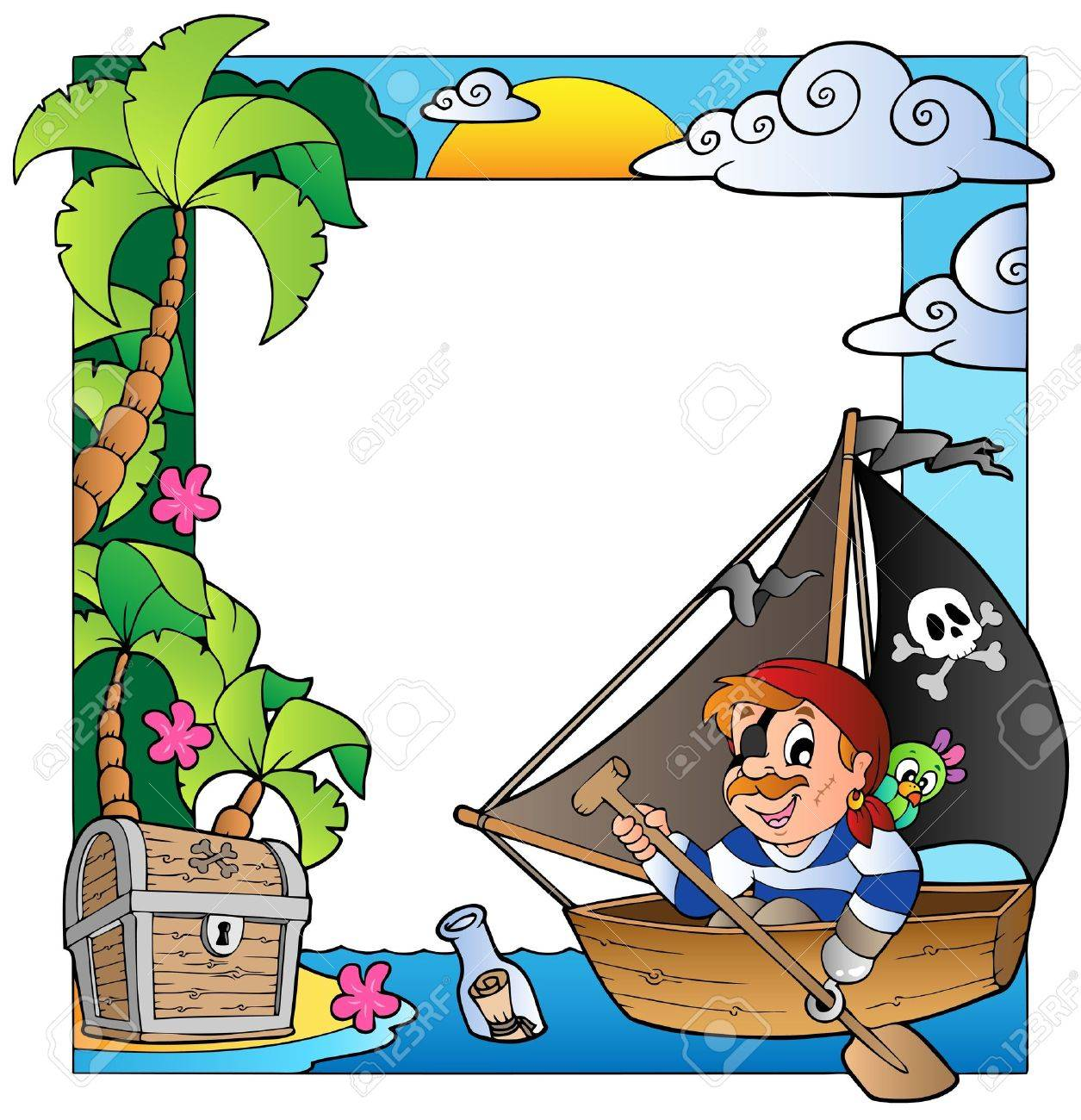 Frame With Sea And Pirate Royalty Free Cliparts, Vectors, And Stock ...