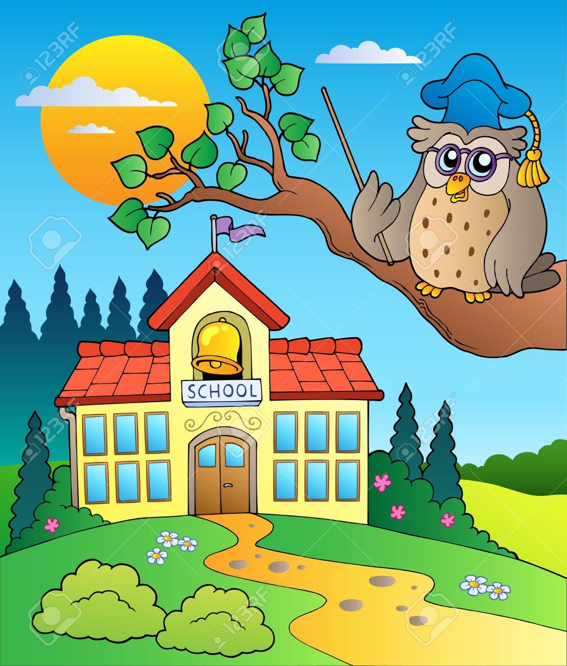 Owl teacher with school building Stock Vector - 10354241