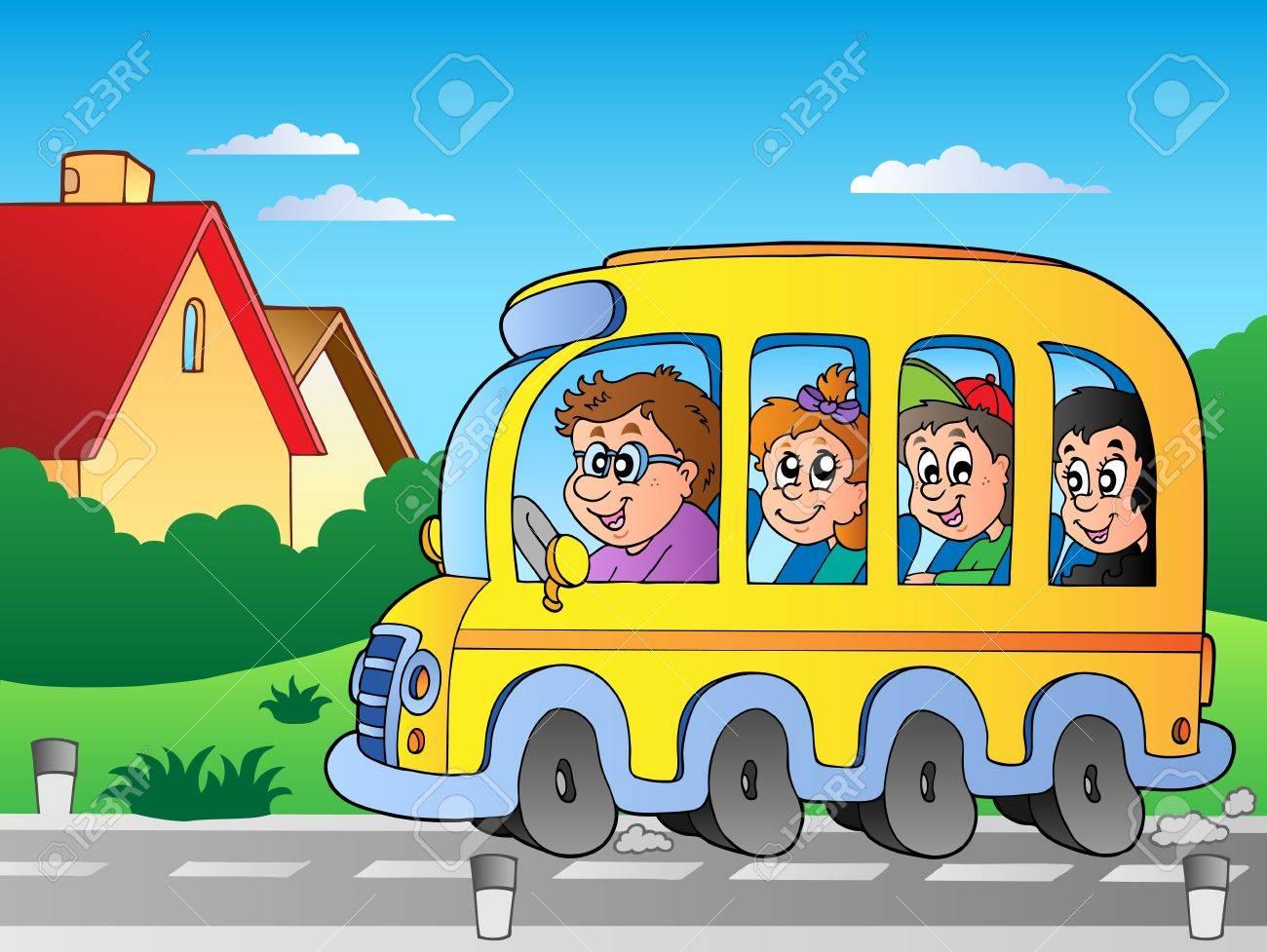 Road with school bus Stock Vector - 10354196