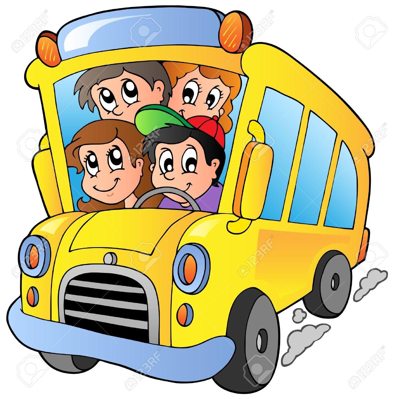 School bus with happy children Stock Vector - 10354190