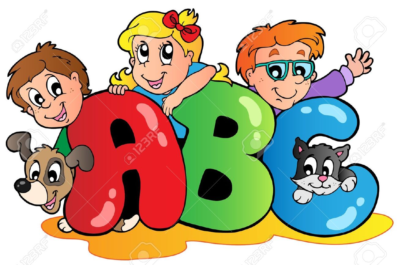 cartoon abc letters photo school theme with abc letters