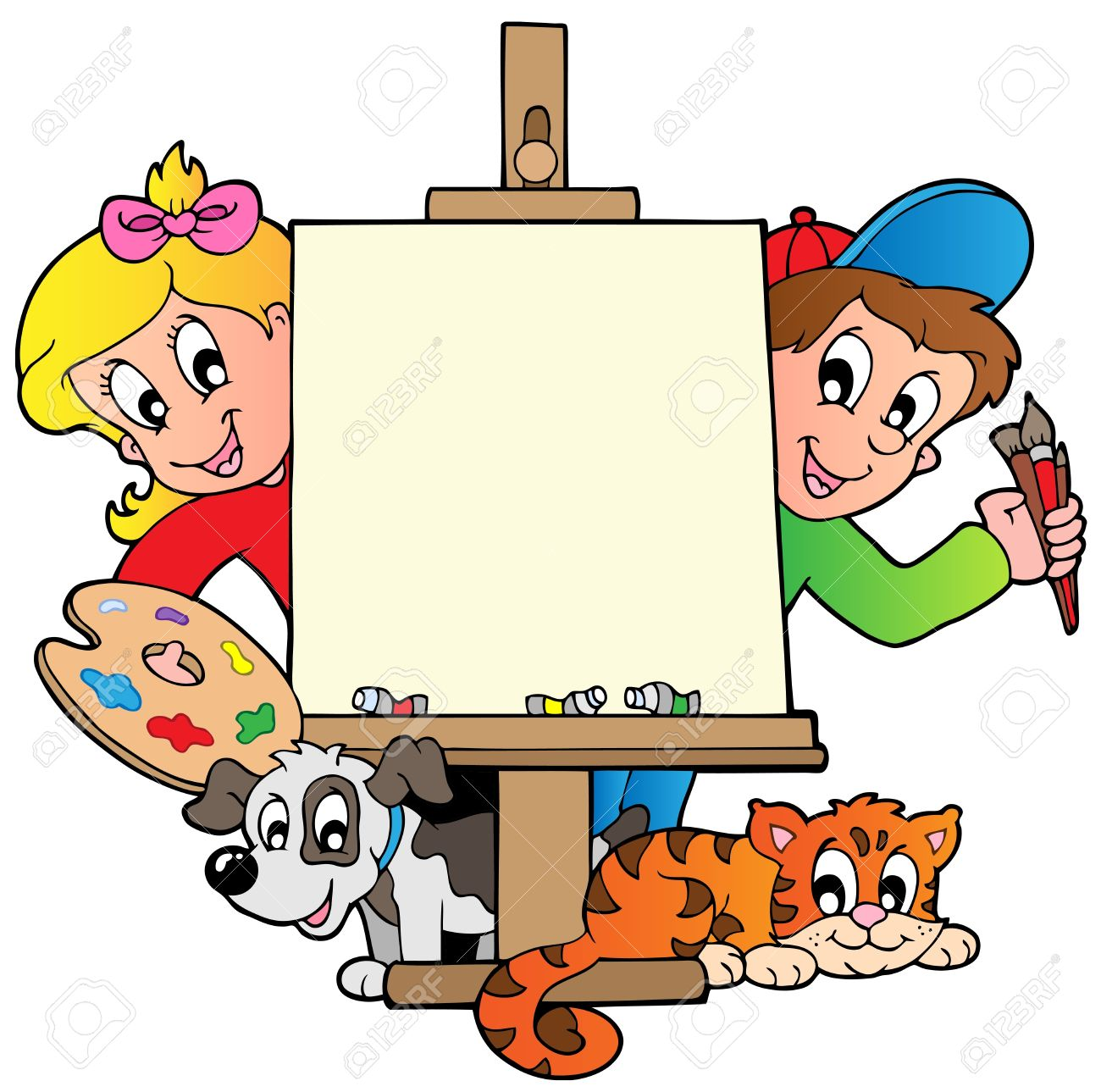 Cartoon Kids With Painting Canvas - Vector Illustration. Royalty ...