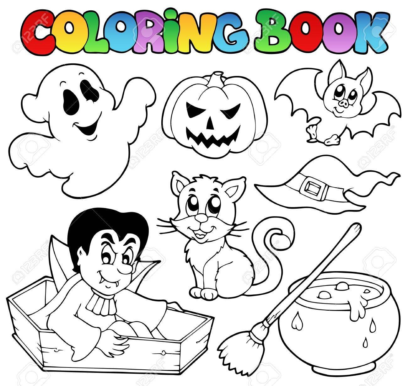 Coloring Book Halloween Cartoons 1 - Vector Illustration. Royalty ...