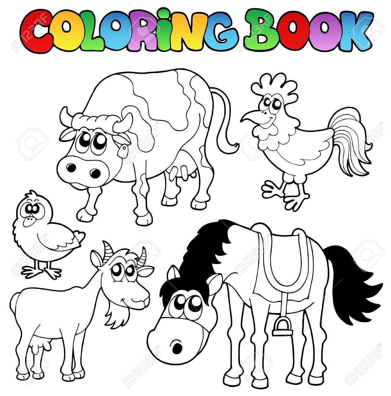 Libro Para Colorear Con Caricaturas De Granja Ilustracion
