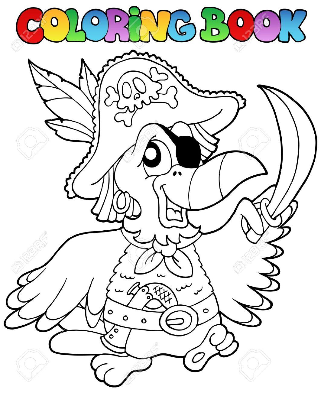 Libro Para Colorear Con Loro Pirata - Ilustración Vectorial ...