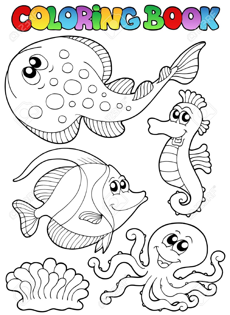 Coloring book with sea animals 3 - vector illustration. Stock Vector - 10565543