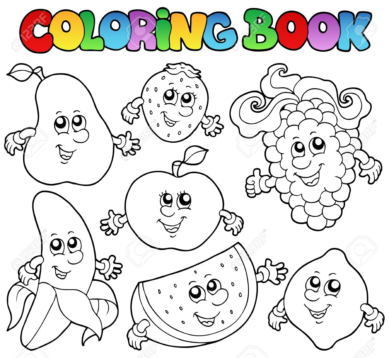 Coloring Book With Various Fruits - Vector Illustration. Royalty ...