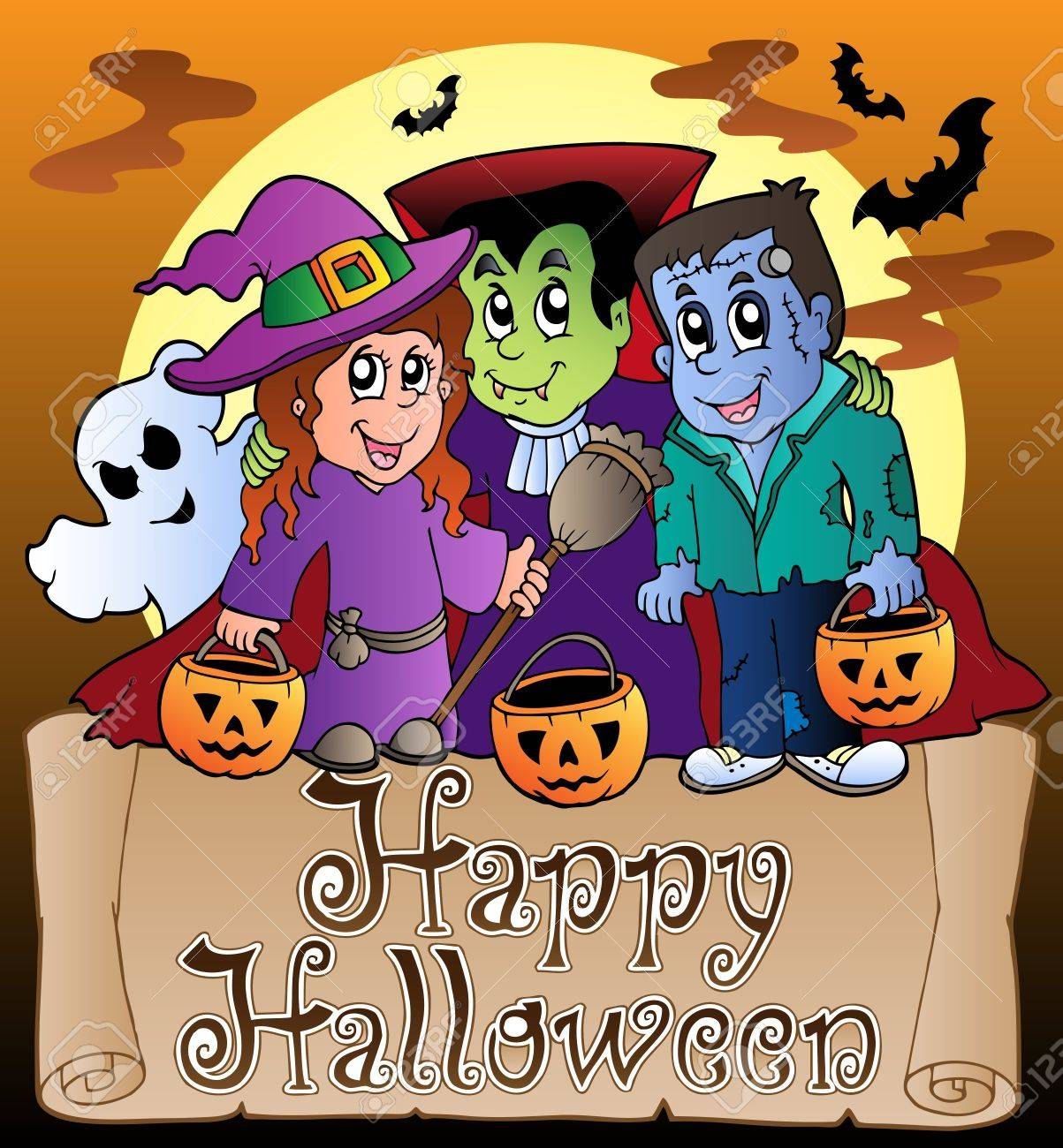 Theme With Happy Halloween Banner 3 Vector Illustration Stock Vector 10565638