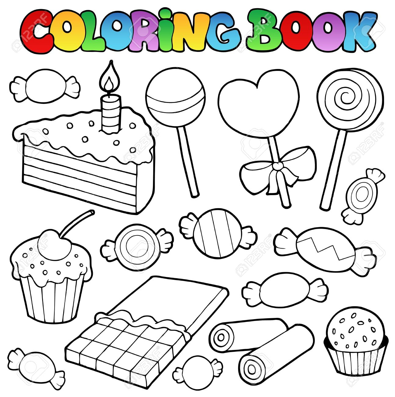 Coloring Book Candy And Cakes Illustration. Royalty Free Cliparts ...