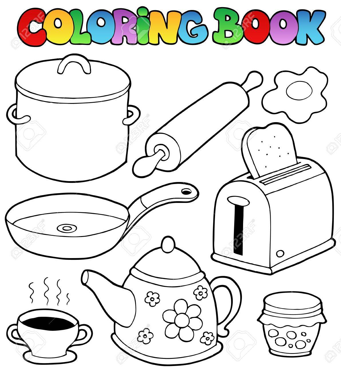 Coloring book domestic collection illustration. Stock Vector - 10780636