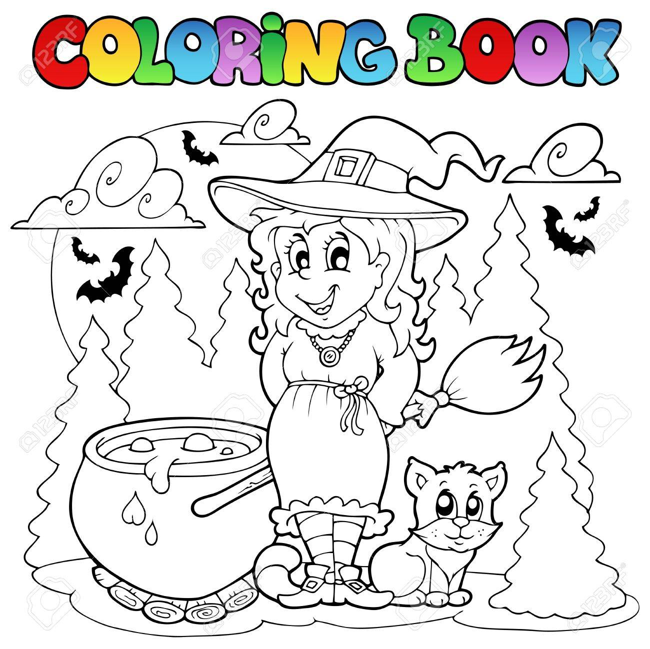 Coloring Book Halloween Character Illustration Stock Vector