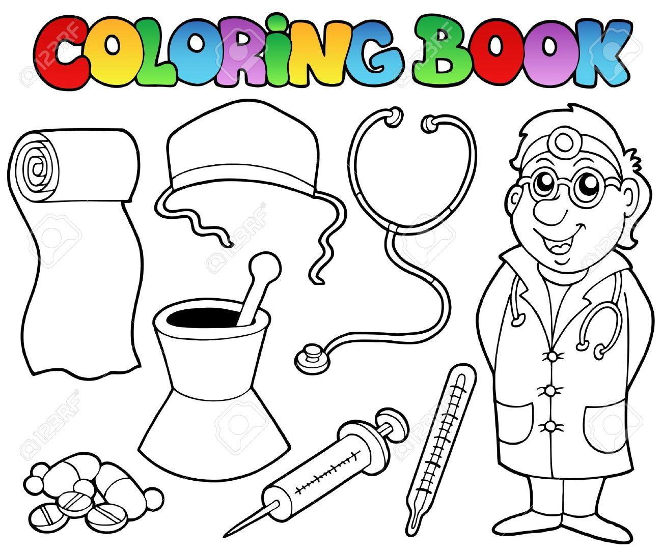 Libro Para Colorear Colección Médica Ilustraciones Vectoriales, Clip ...